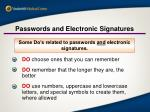 passwords and electronic signatures