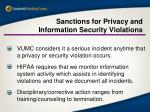 sanctions for privacy and information security violations