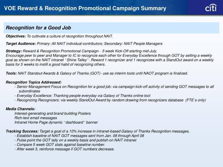 voe reward recognition promotional campaign summary n.