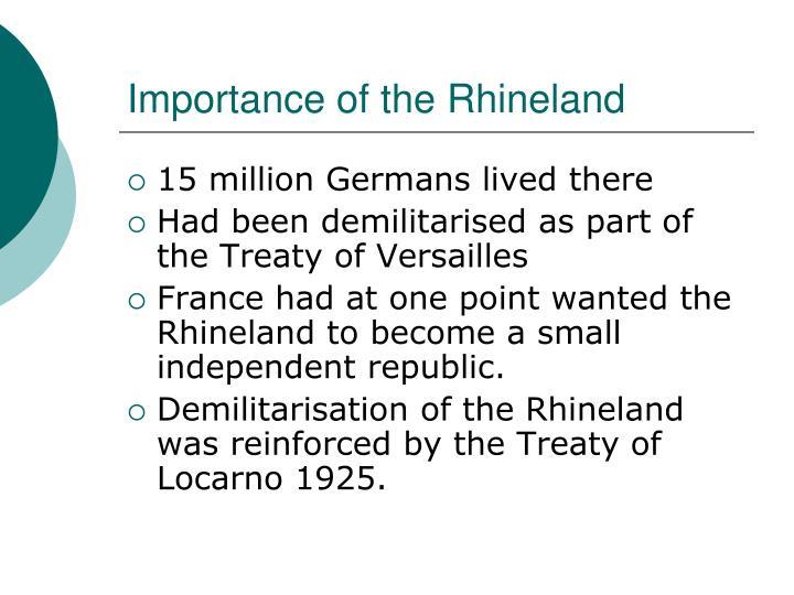 Importance of the Rhineland