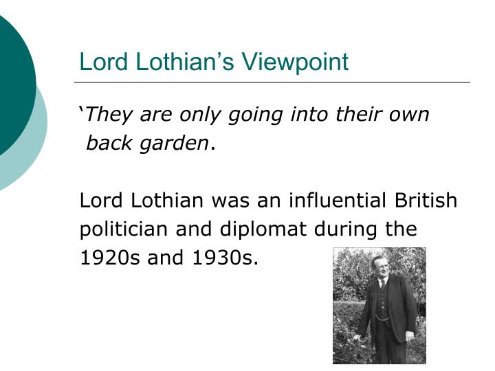 Lord Lothian's Viewpoint