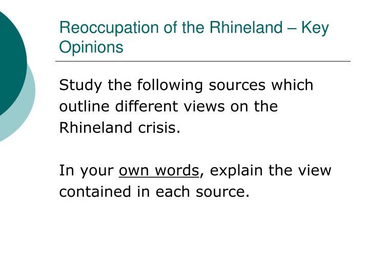 Reoccupation of the Rhineland – Key Opinions