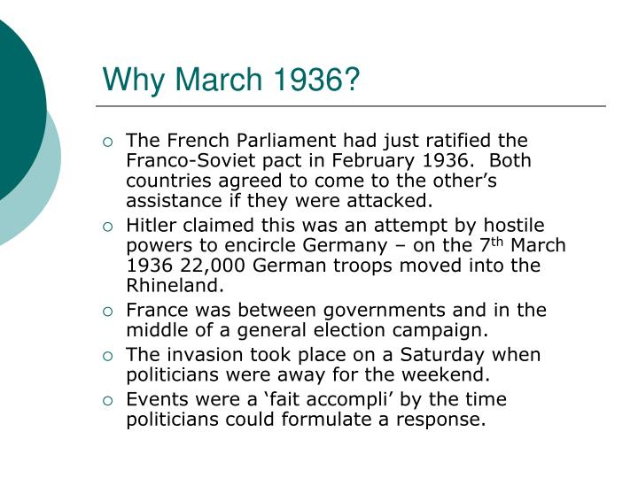 Why March 1936?