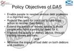 policy objectives of das