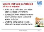 criteria that were considered for draft module