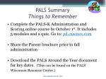 pals summary things to remember