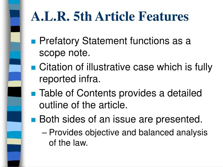 A.L.R. 5th Article Features