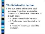 the substantive section