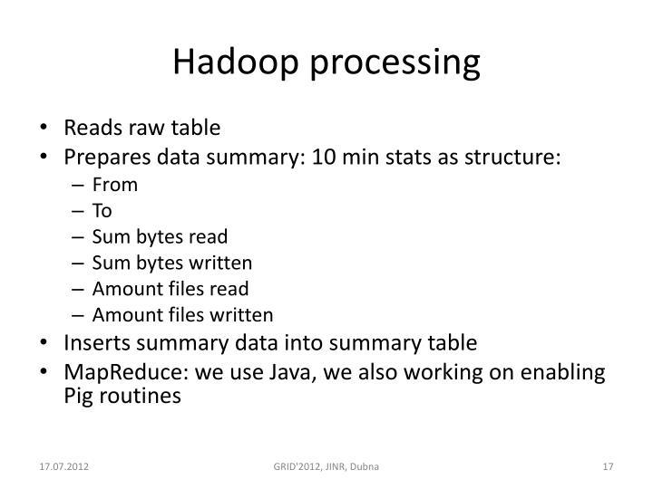 Hadoop processing