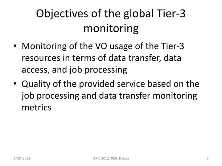 Objectives of the global Tier-3 monitoring
