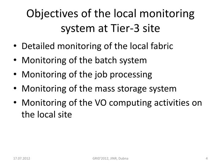 Objectives of the local monitoring system at Tier-3 site