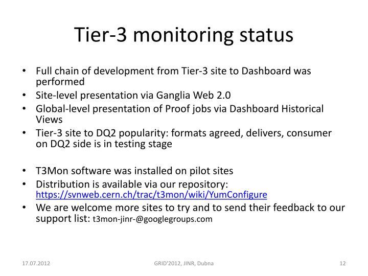 Tier-3 monitoring status