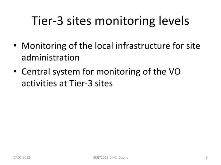 Tier 3 sites monitoring levels