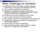 major challenges on sanitation