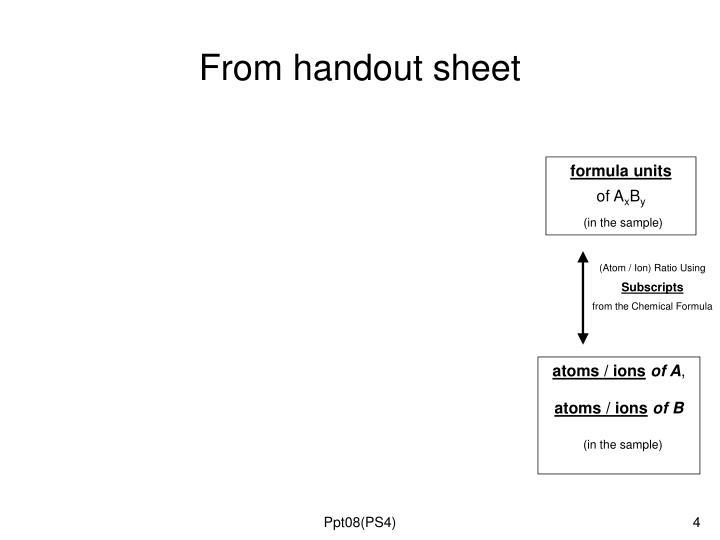 From handout sheet