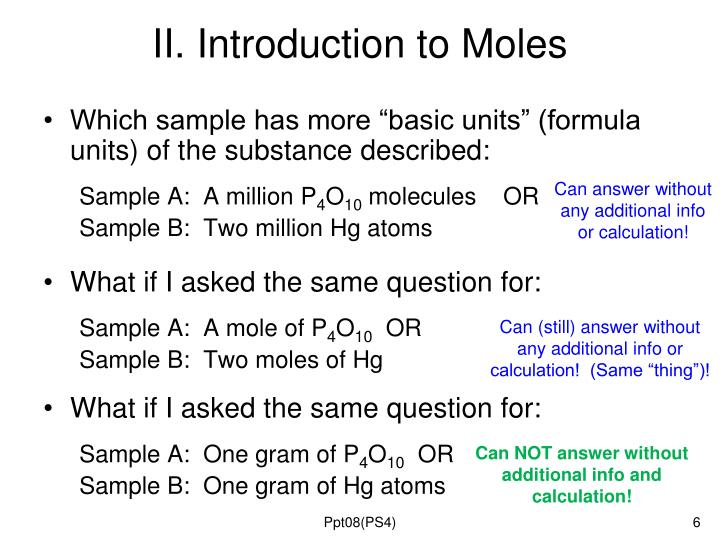 II. Introduction to Moles