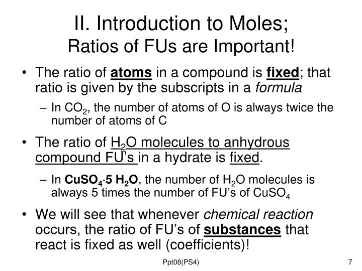II. Introduction to Moles;