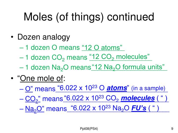 Moles (of things) continued