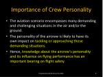 importance of crew personality