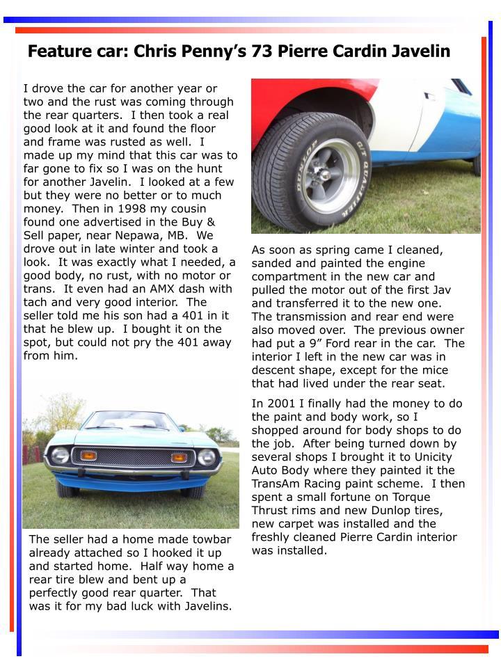 Feature car: Chris Penny's 73 Pierre Cardin Javelin