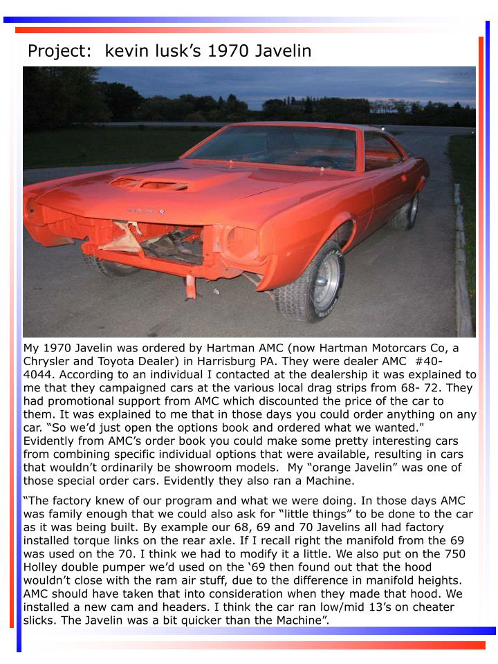 Project:  kevin lusk's 1970 Javelin