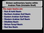 sixteen sedimentary basins within arabian plate unstable shelf