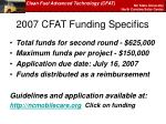 2007 cfat funding specifics