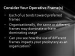 consider your operative frame s