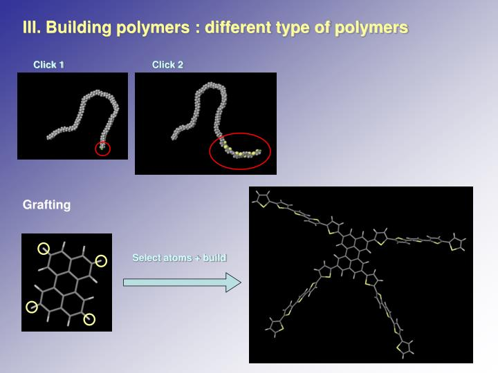 III. Building polymers : different type of polymers