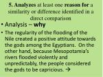 5 analyzes at least one reason for a similarity or difference identified in a direct comparison