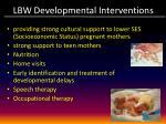 lbw developmental interventions