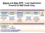 before and after bpr loan application process at ibm credit corp