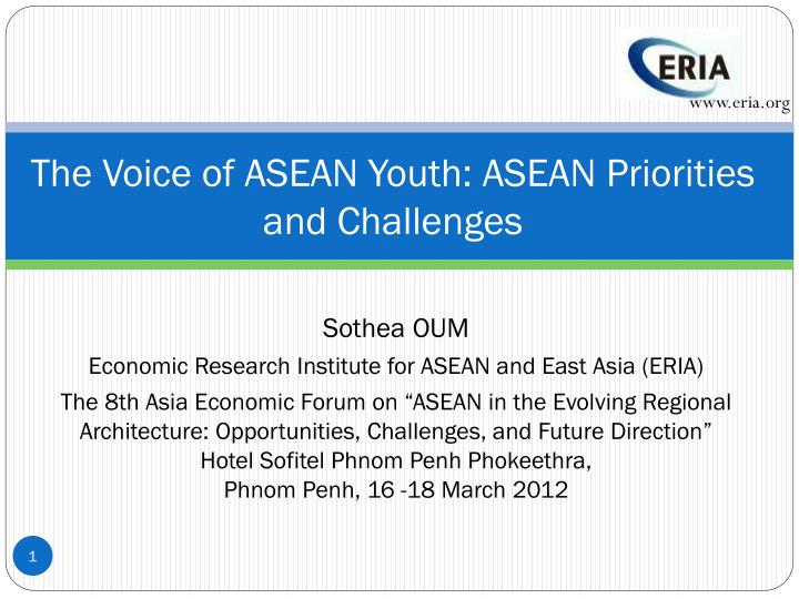 the voice of asean youth asean priorities and challenges n.