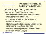proposals for improving budgetary indicators 2
