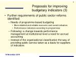 proposals for improving budgetary indicators 3
