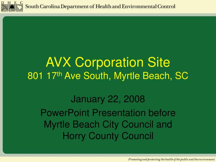 avx corporation site 801 17 th ave south myrtle beach sc n.