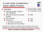 a cost chain comparison value added product