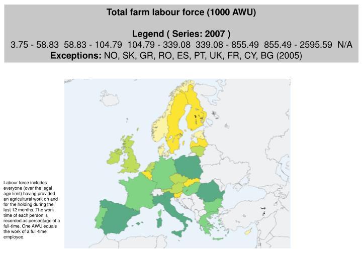 Total farm labour force (1000 AWU)