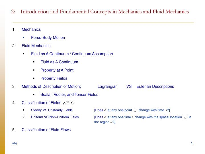 2 introduction and fundamental concepts in mechanics and fluid mechanics n.