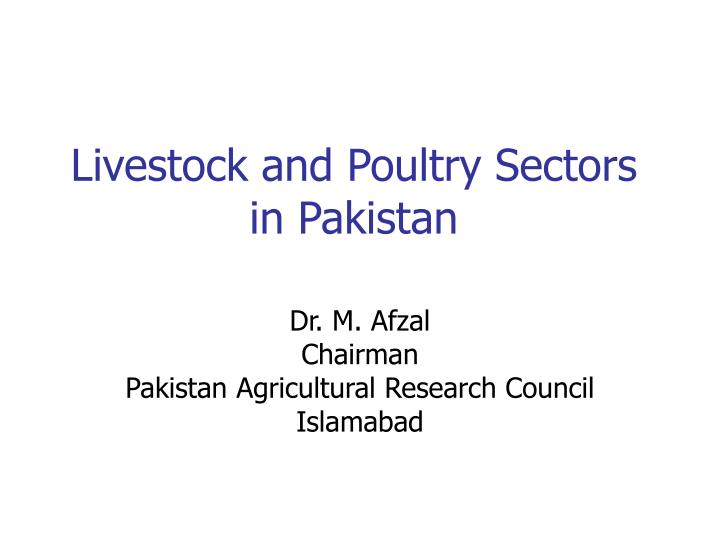 livestock and poultry sectors in pakistan n.
