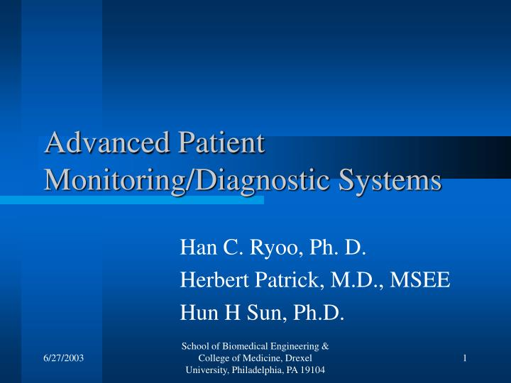 advanced patient monitoring diagnostic systems n.