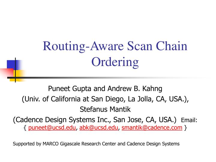 routing aware scan chain ordering n.