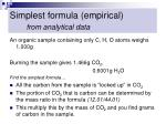 simplest formula empirical from analytical data
