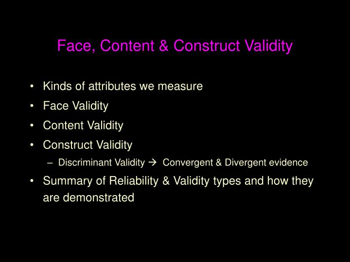face content construct validity n.