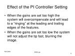 effect of the pi controller setting