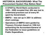 historical background what the procurement system was before now