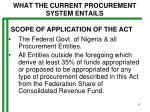 what the current procurement system entails