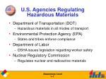 u s agencies regulating hazardous materials