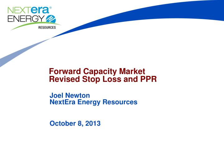 forward capacity market revised stop loss and ppr n.