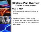 strategic plan overview external industry analysis3